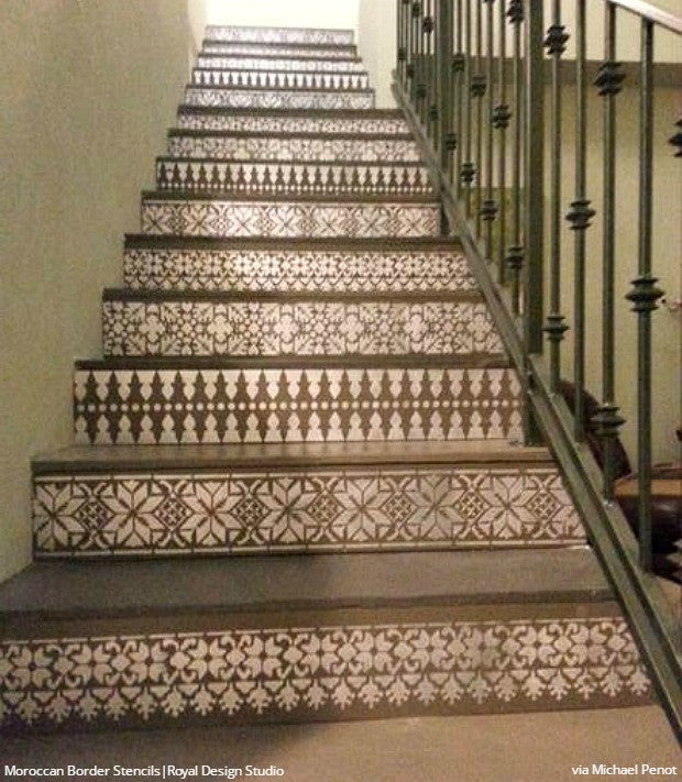 58 Cool Ideas For Decorating Stair Risers: 12 Stencil Ideas For Your Stairs