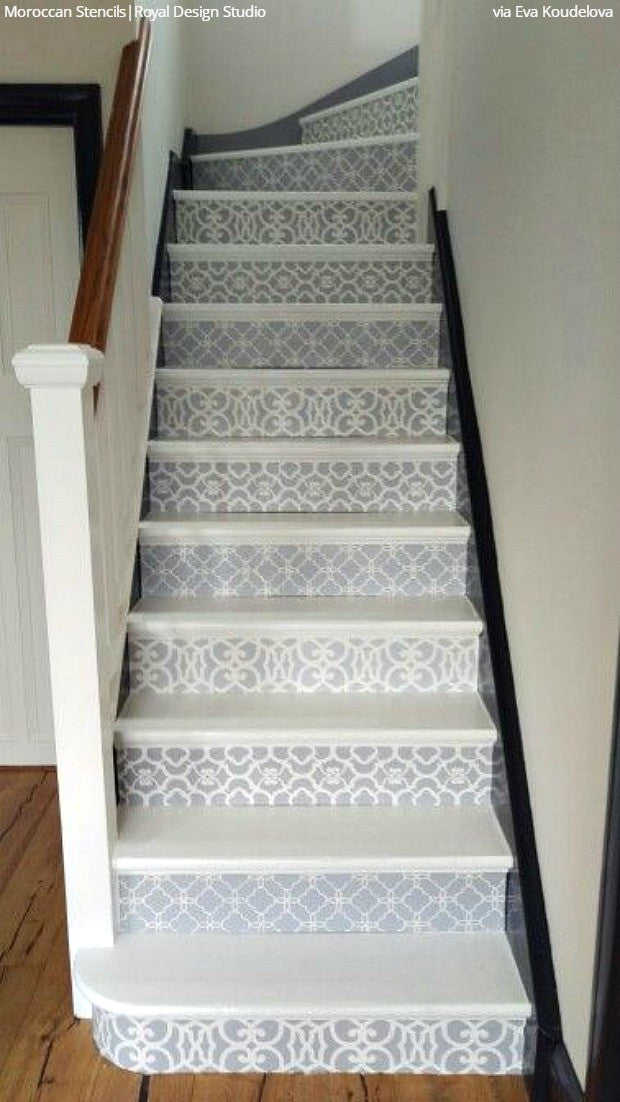 12 stencil ideas for your stairs paint stair risers with. Black Bedroom Furniture Sets. Home Design Ideas