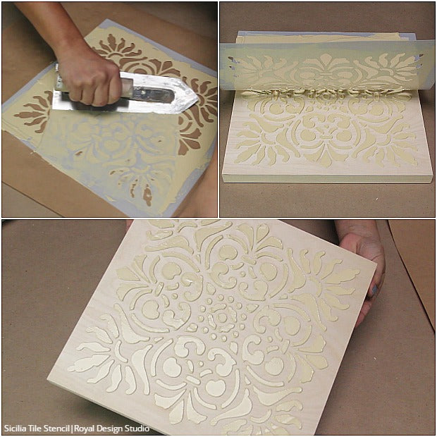 Do It Yourself Home Design: How To Stencil DIY Terracotta Wall Art Tiles With Chalk