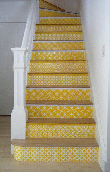 stencils for floors yellow stenciled staircase