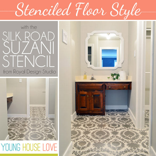 Stenciled Floor Style | Project by Young House Love with Royal Design Studio Stencils