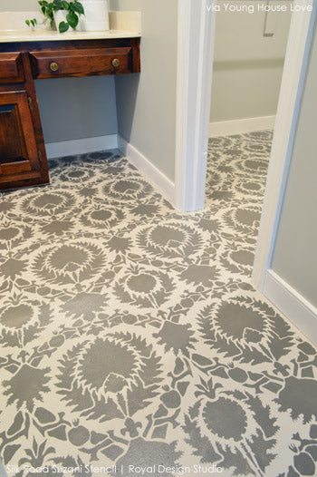 Stenciled Floor Inspiration from Young House Love | Royal Design Studio Stencils