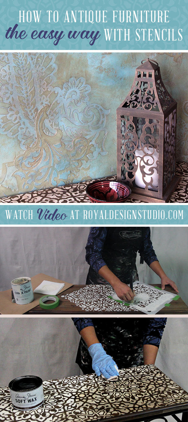 How to Antique Stained Wood Furniture with Stencils and Annie Sloan Chalk Paint and Dark Wax - VIDEO Stencil DIY Tutorial by Royal Design Studio