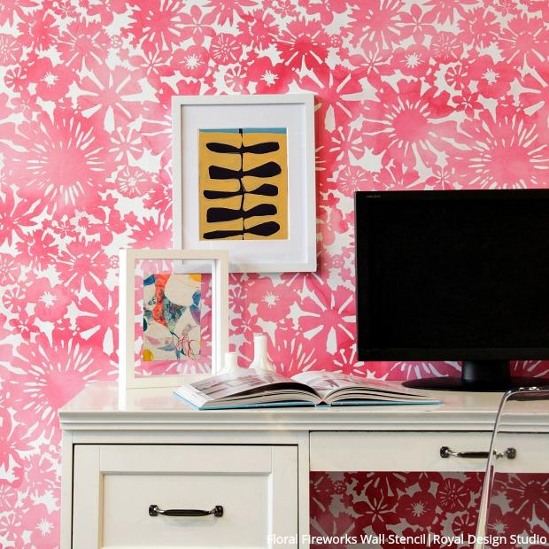 Floral Fireworks Allover Wall Stencil