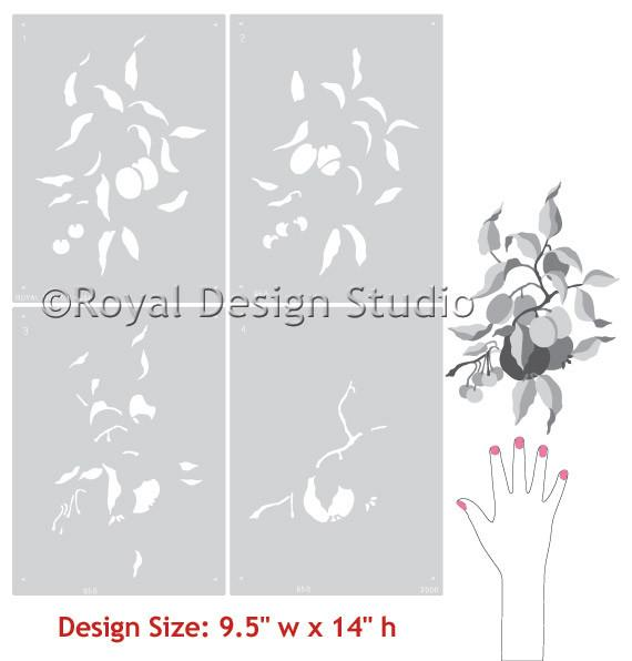 Pear and Plum Botanical Fruit Stencil