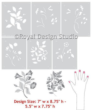 English Flowers Series A Stencil