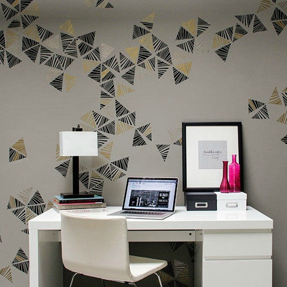 Modern Office Wall Stencil Kit