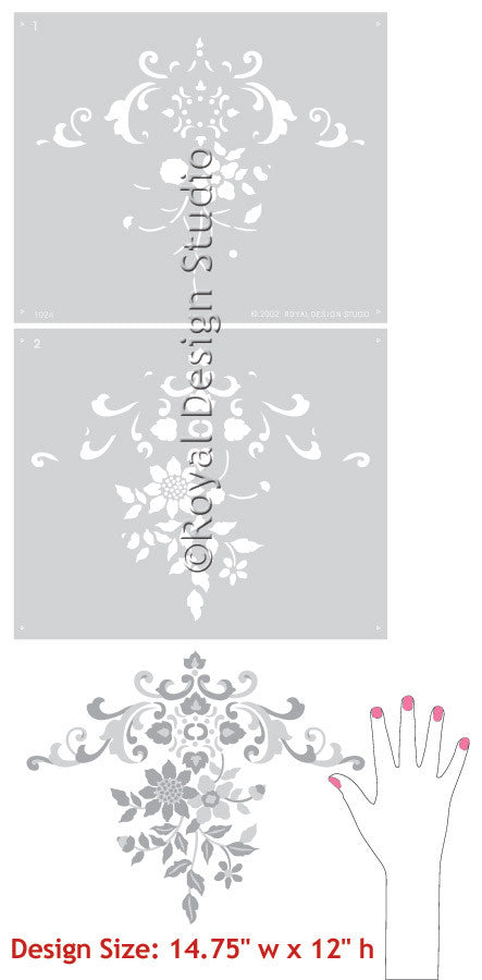 Floral Embroidery Centerpiece Stencil for DIY Wall Art - Royal Design Studio