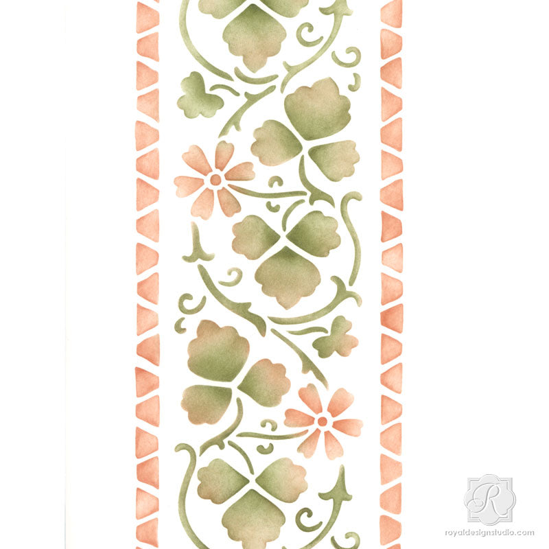 Folk Flower Border Stencil