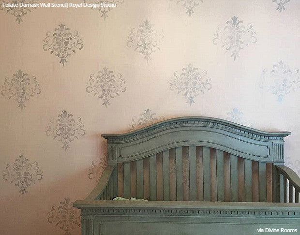 DIY Nursery Decor Damask Wallpaper Wall Stencils - Royal Design Studio