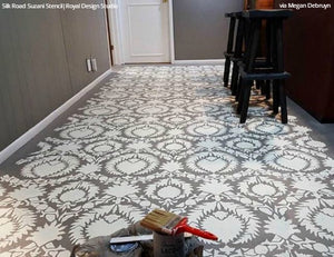 DIY Painted Concrete Floor Stencils - Royal Design Studio Silk Road Suzani Pattern Stencil