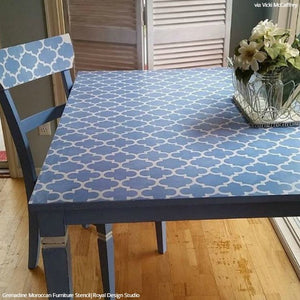Trellis Pattern Painted Table Furniture Stencils - Royal Design Studio