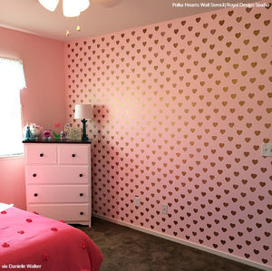 Pink Girls Room Decor Heart Wallpaper Wall Stencils - Royal Design Studio