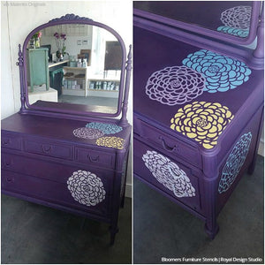 Purple Modern Flower Stencils Furniture Upcycle Dresser Makeover - Royal Design Studio