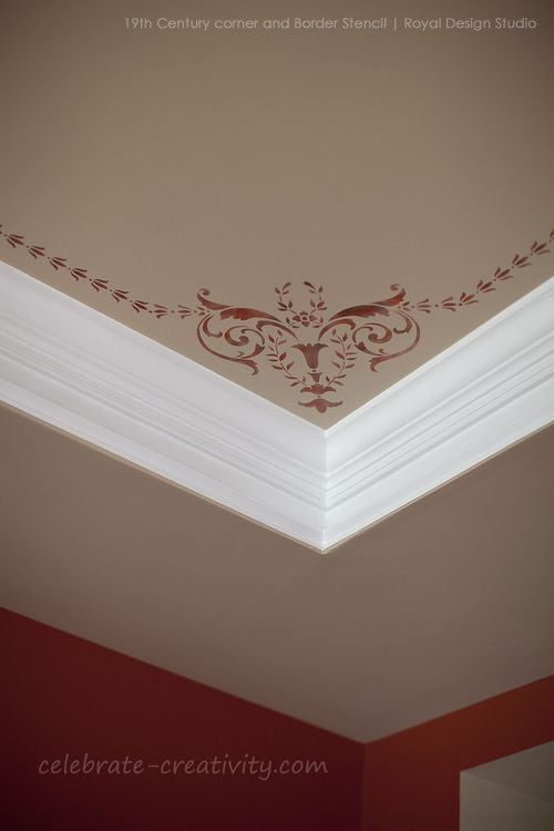 DIY Victorian Room Makeover - Classic Paint Stencils with European Design - Wall and Ceiling Stencils - Royal Design Studio