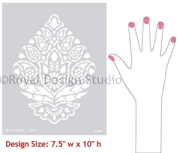 indian paisley pattern stencil by Royal Design Studio