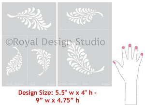 Bird Falling Feathers Stencils - Falling Leaves Wall Stencils - Royal Design Studio