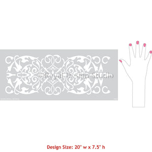 DIY Border Designs on Walls - Intricate and Detailed Arabesque Border Stencils - Classic Border Stencils for Walls, Columns, and Ceilings - Royal Design Studio