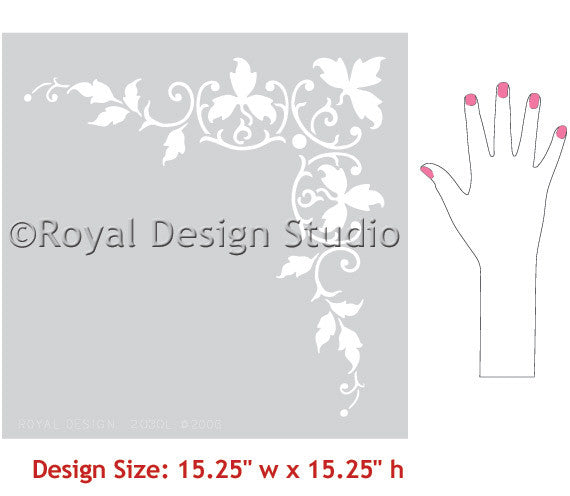 Victorian Design and Home Decor - Elegant Foliate Corner Stencils for Walls and Ceilings - Royal Design Studio