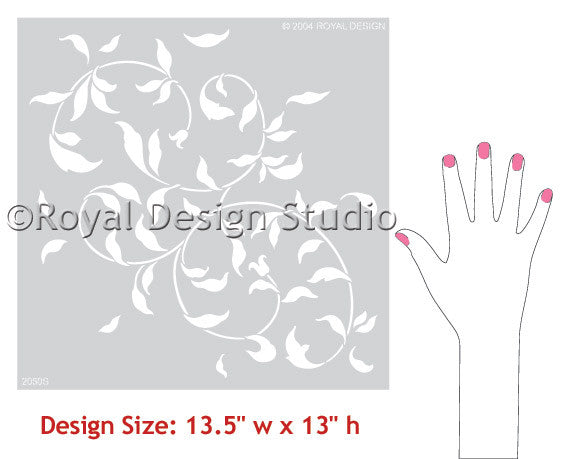 Endless Leaf Vine Wall Stencils for Painted Wall Projects - Stenciled Bedrooms, Accent Walls, Living Room, Kitchen Decor - Royal Design Studio