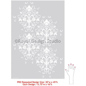 Elegant Allover Wall Stencils for Stenciling Wall Decor Art and Accent Walls - Royal Design Studio