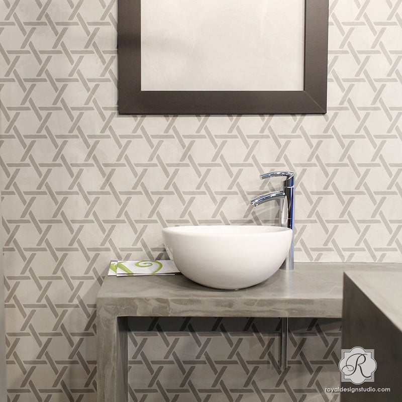 Neutral Home Decor Idea Painting with Wall Texture Design - Criss Cross Basket Weave Wall Stencils - Royal Design Studio