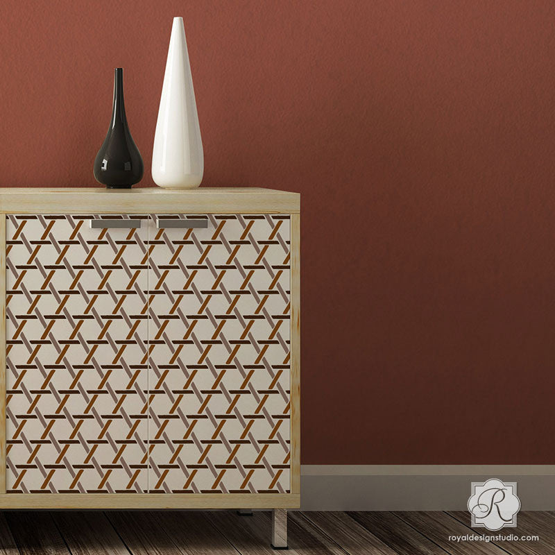 Charmant Neutral Home Decor Idea Painting With Wall Texture Design   Criss Cross Basket  Weave Furniture Stencils ...