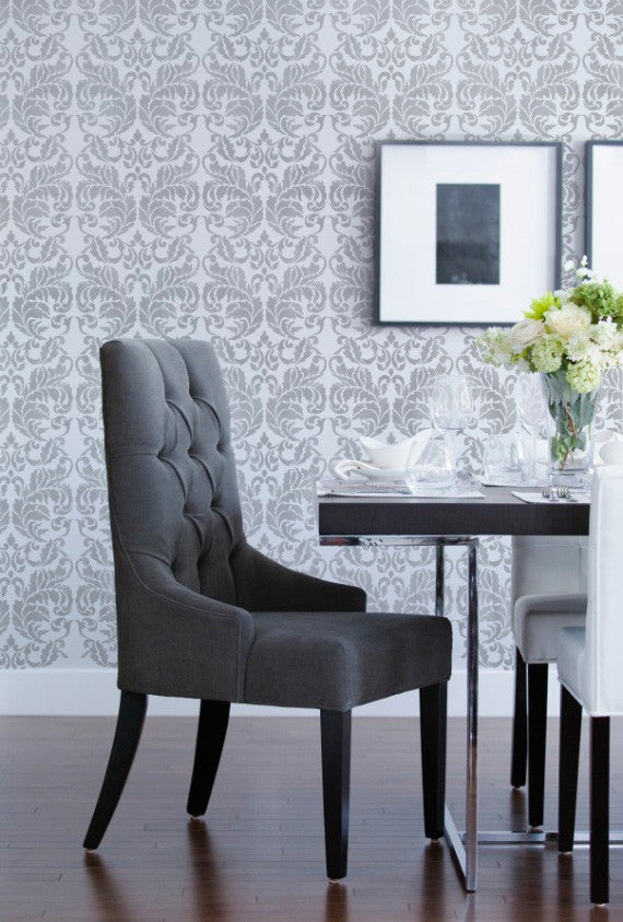 ... Painting and Accent Wall with Designer Wallpaper Look - Acanthus Damask  Wall Stencils - Royal Design ...