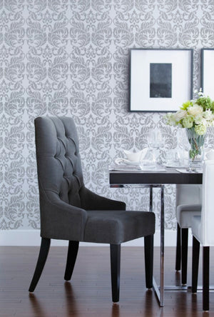 Painting and Accent Wall with Designer Wallpaper Look - Acanthus Damask Wall Stencils - Royal Design Studio