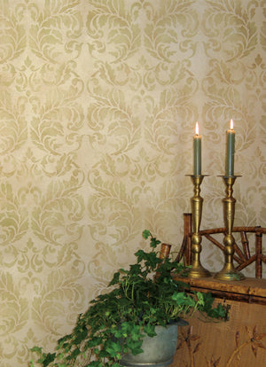 Large Damask Wallpaper Pattern Stencils - Acanthus Damask Stencil for Painting Elegant Accent Walls - Royal Design Studio