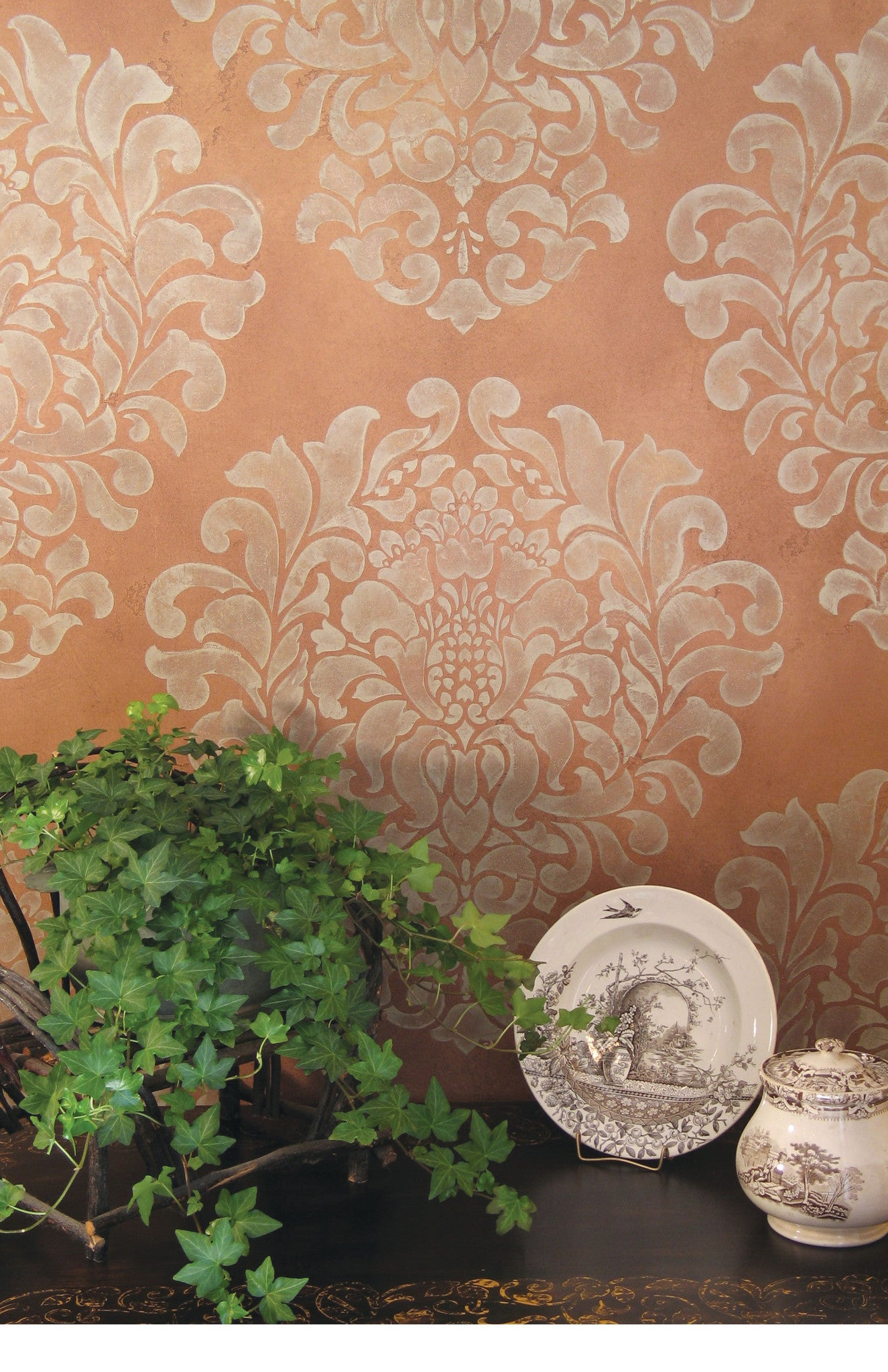 Large trellis wall stencil acanthus damask wall stencil for diy grand damask wall stencil amipublicfo Gallery