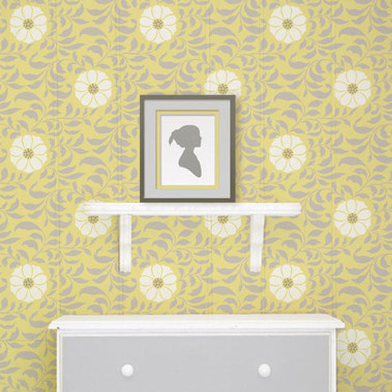 Folk Flower Allover Wall Stencil