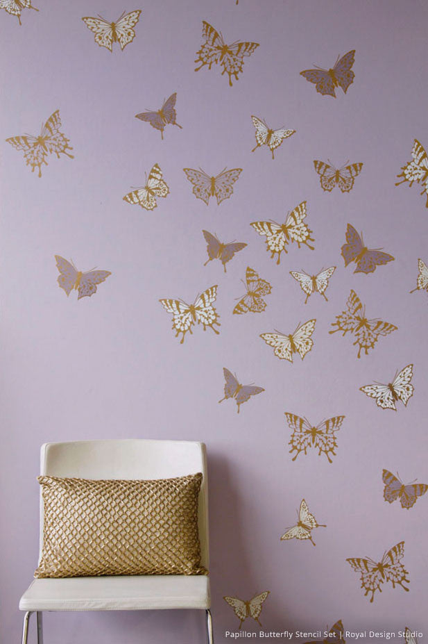 Girls Room or Nursery - Cute Butterfly Butterflies Mural Stencil Modern Wall Art for kids  - Royal Design Studio