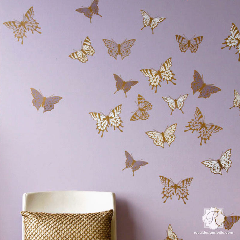 Modern Wall Art For Girls Room Or Nursery   Cute Butterfly Butterflies  Mural Stencils   Royal ...