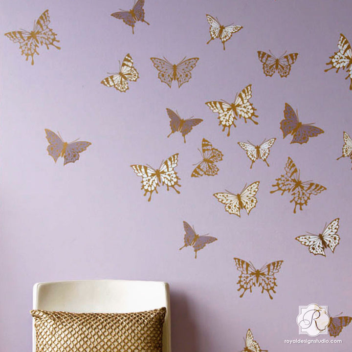 Modern Wall Art for Girls Room or Nursery - Cute Butterfly Butterflies Mural Stencils - Royal Design Studio