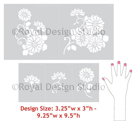 Chrysanthemum Flower Stencils and Asian Floral Designs