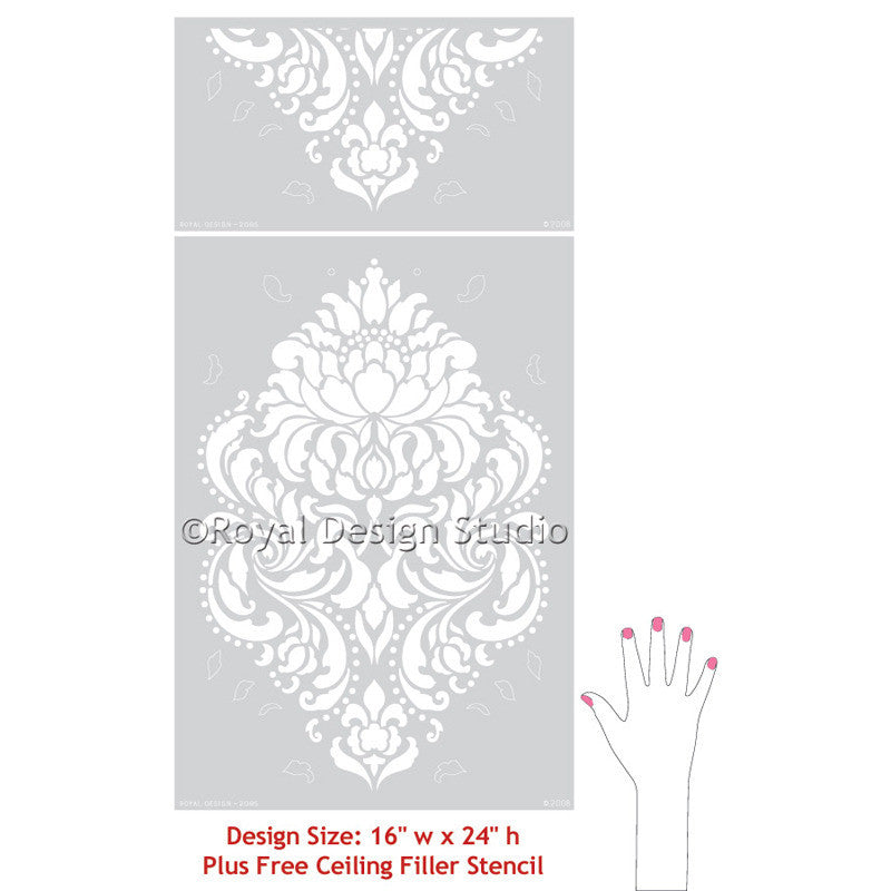 Classic and traditional damask stencils for Christmas tablecloth or tree skirt crafts