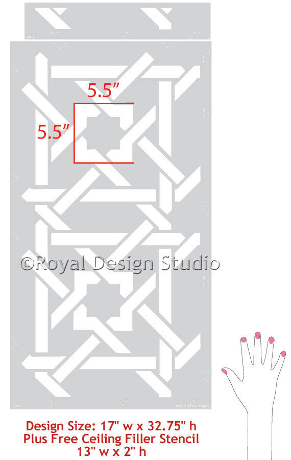 Moroccan stencils camel bone weave geometric and exotic pattern - Royal Design Studio