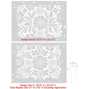 Skylars Lace Floral and Flower Stencils for Painting DIY Wallpaper, Floors, Ceilings - Royal Design Studio