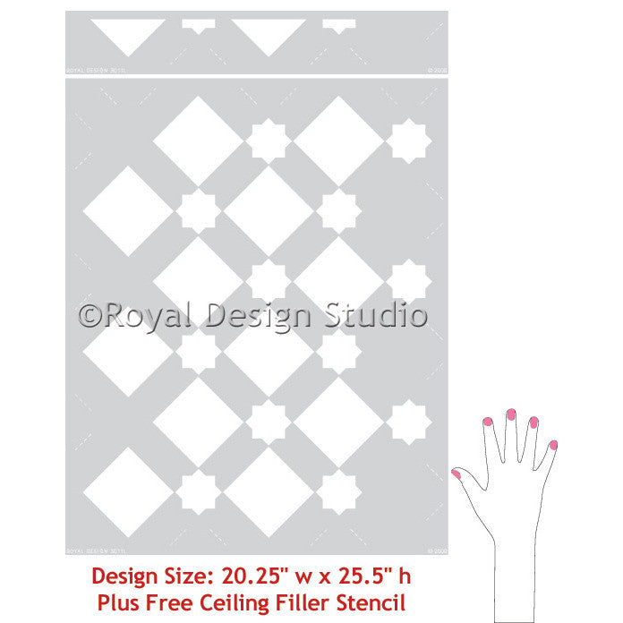 LARGE Modern Wall Pattern Little Diamonds Allover Stencil DIY Home Decor