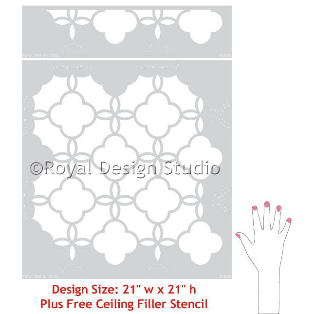 Eastern Lattice Moroccan Wall Stencils - DIY Wallpaper Stencils for Custom Wall Patterns - Royal Design Studio