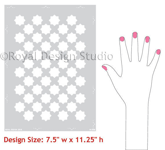 Eight Pointed Stars Craft Christmas Stencils for Gift Wrapping Paper - Royal Deign Studio