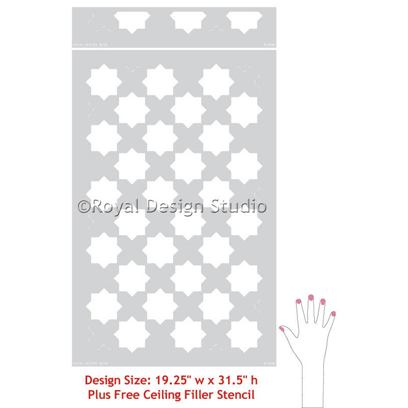 Moroccan Stencils Eight Pointed Stars Wall Stencils - Royal Design Studio