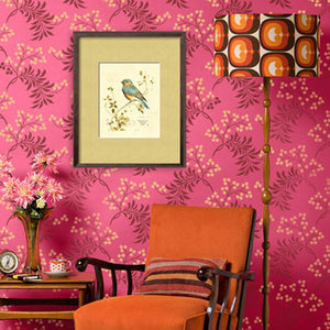 Colorful Wall Decor using Berry and Flower Stencils