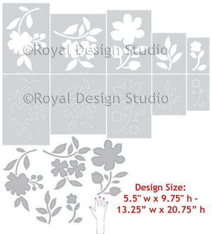 Cute Nursery Decor and Girls Room Decor - Large Flower Stencils for Decorating Kids Rooms - Royal Design Studio