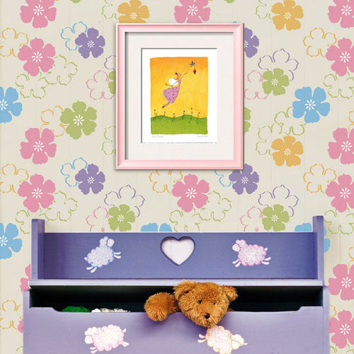 Colorful Nursery Decor and Kids Rooms - Cartoon Flower Stencil Designs for Wall Decor