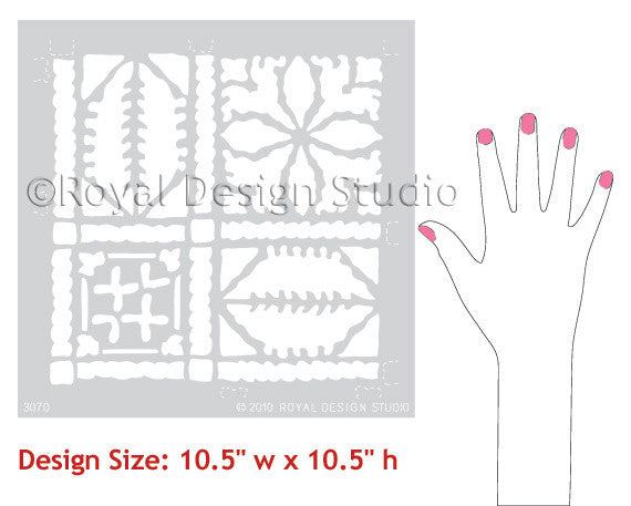 Royal Design Studio Fez Blanket Moroccan Wall Stencils for Exotic Home Decor and DIY Decorating