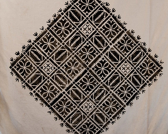 Moroccan Designs Stenciled on Fabric in Marrakesh - Royal Design Studio Fez Blanket Moroccan Wall Stencils