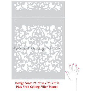 Donatella Damask Wall Stencil pattern