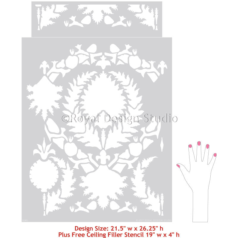Silk Road Suzani Exotic Wall Stencils for Painting Accent Walls and Painted Floors - Royal Design Studio